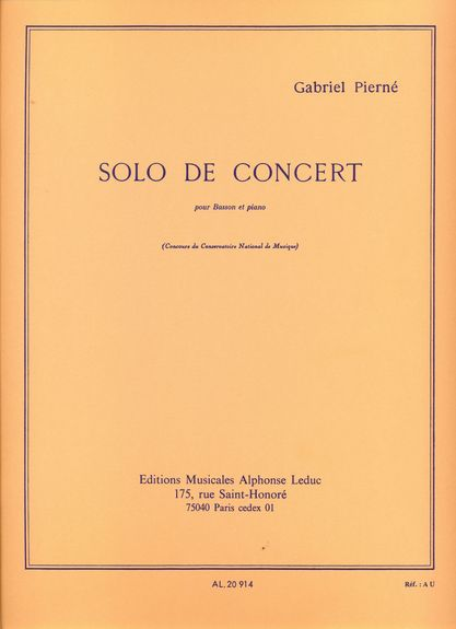 Solo de Concert Op.35 by Pierne for Bassoon published by Leduc