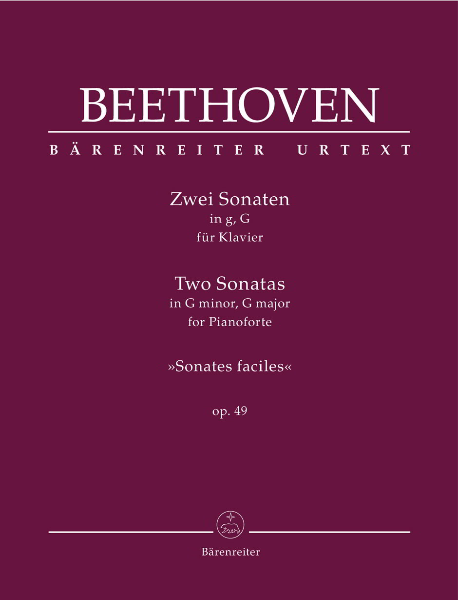 Beethoven: 2 Sonatas for Piano in G minor & G major Opus 49 published by Barenreiter