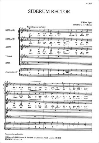Byrd: Siderum rector SSATB published by Stainer & Bell