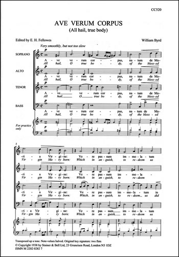 Byrd: Ave verum corpus (All hail true body) SATB published by Stainer & Bell