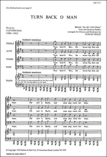 Holst: Turn Back O Man SATB published by Stainer and Bell