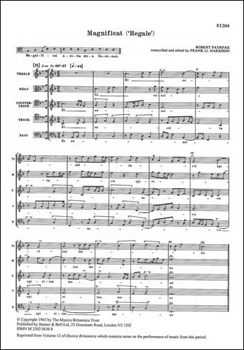 Fayrfax: Magnificat 'Regale' SATBaB published by Stainer and Bell