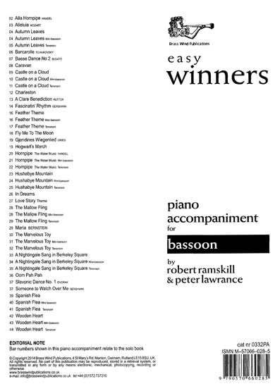 Easy Winners Piano Accompaniment for Bassoon, Mini-bassoon and Tenoroon published by Brasswind