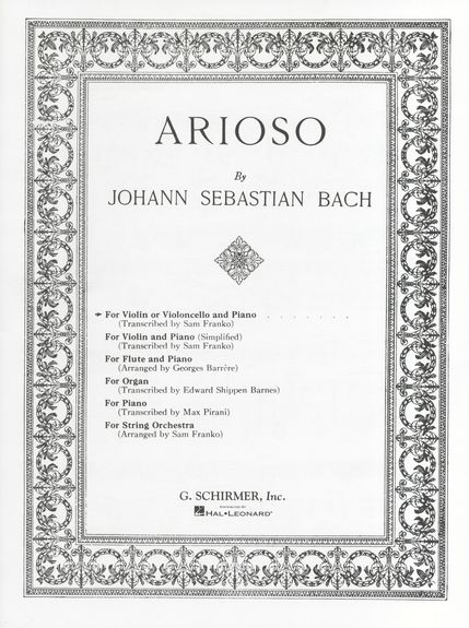 Bach: Arioso for Cello or Violin published by Schirmer