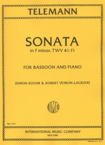 Telemann: Sonata in F Minor TWV 41:f1 for Bassoon published by IMC
