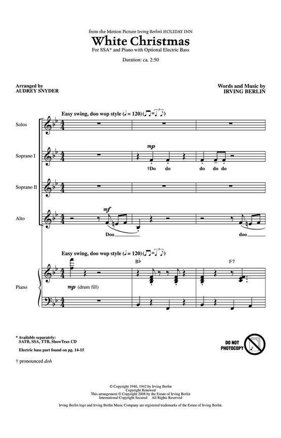 White Christmas SSA by Berlin published by Hal Leonard