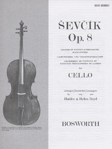 Sevcik: Changes of Position and Prep Scale Studies Opus 8 for Cello published by Bosworth