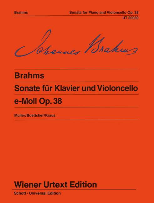 Brahms: Sonata in E Minor Opus 38 for Cello published by Wiener Urtext