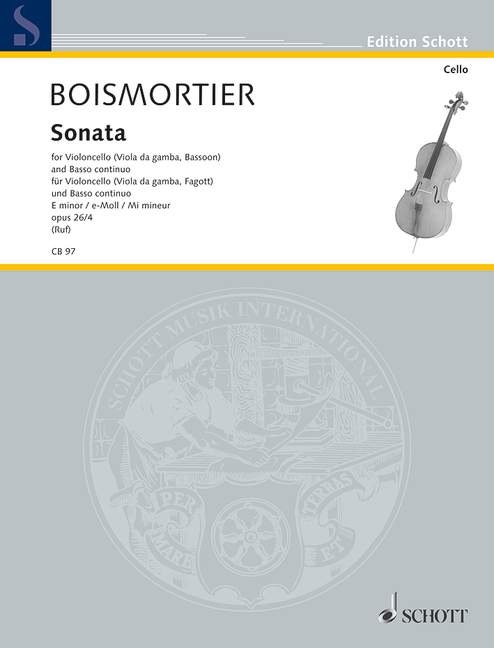 Boismortier: Sonata No 4 in E minor Opus 26/4 for Cello published by Schott