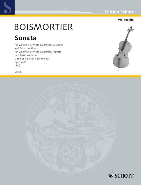 Boismortier: Sonata in G Minor Opus 26/5 for Cello or Bassoon published by Schott