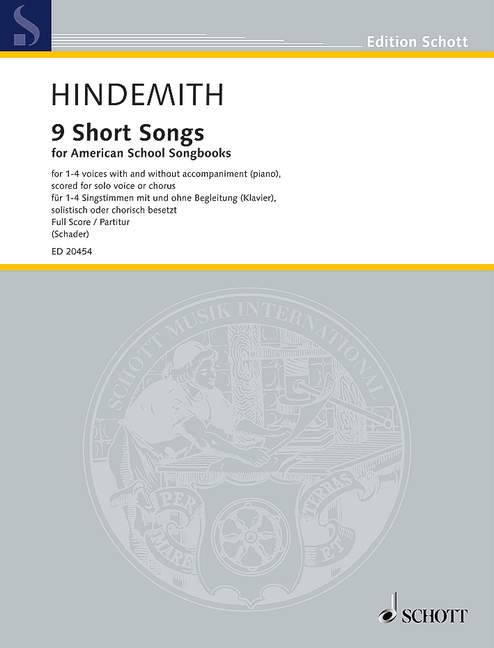 Hindemith: 9 Short Songs for 1 - 4 Voices published by Schott