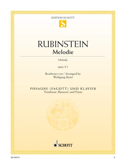 Rubinstein: Melodie Opus 3/1 for Trombone or Bassoon published by Schott