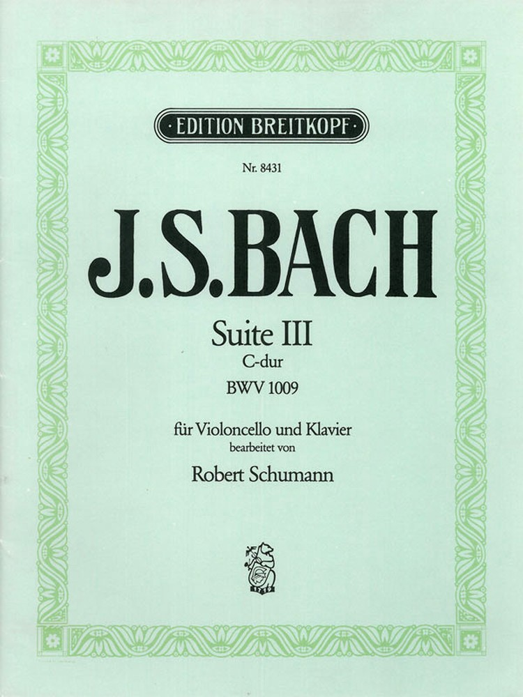 Bach: Suite No 3 in C BWV1009 for Cello published by Breitkopf