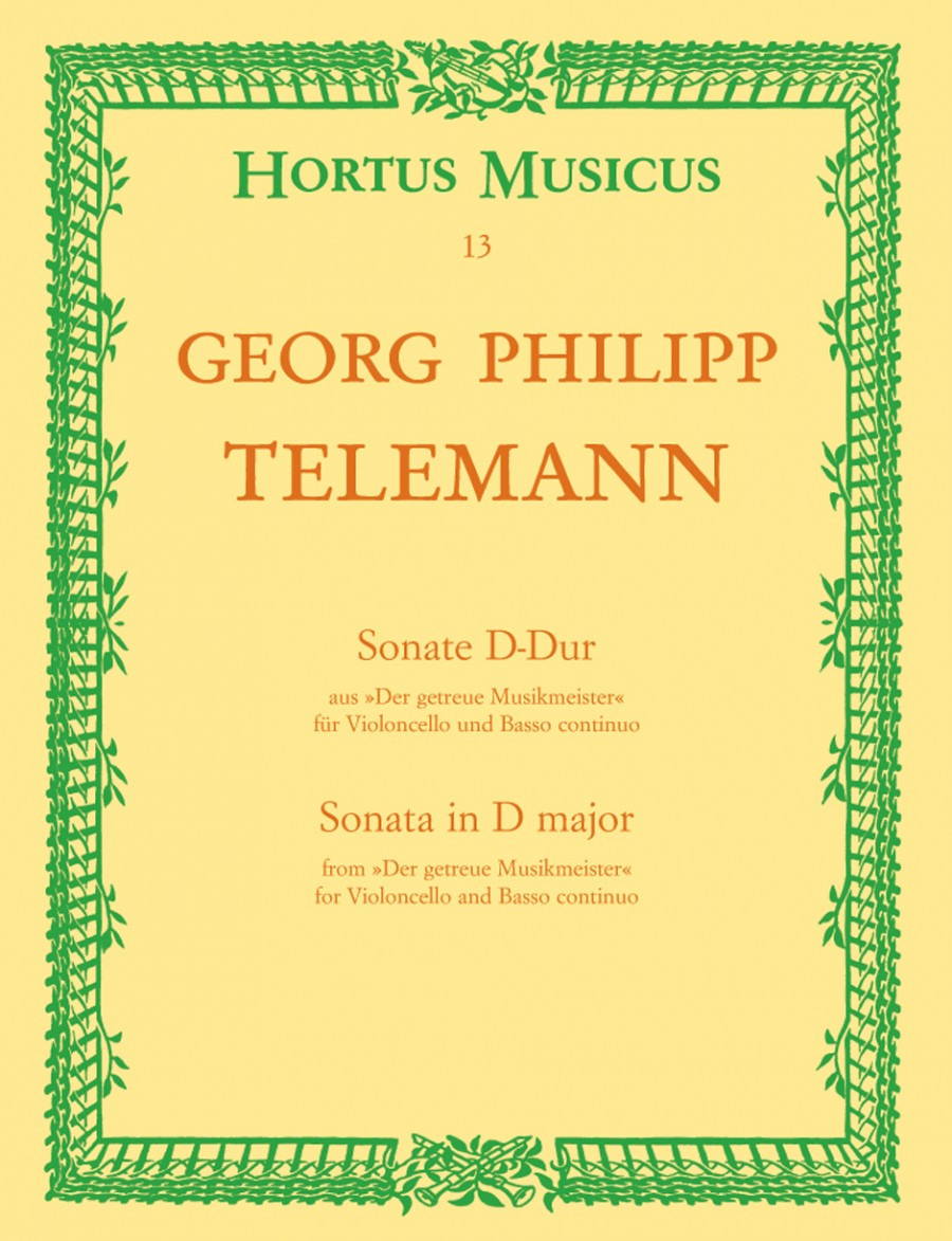 Telemann: Sonata in D TWV 41:D6 for Cello published by Hortus Musicus