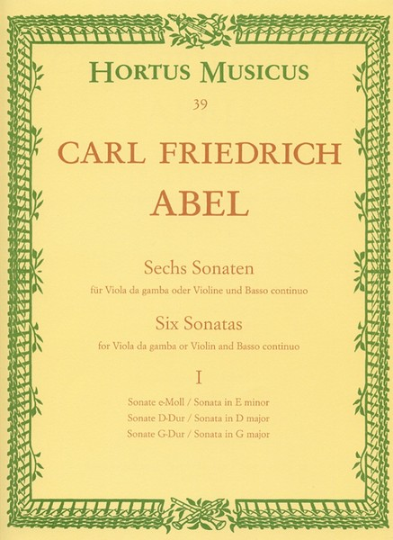 Abel: 6 Sonatas Volume 1 for Viola da Gamba published by Barenreiter