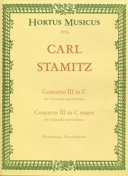 Stamitz: Concerto No 3 in C for Cello published by Barenreiter