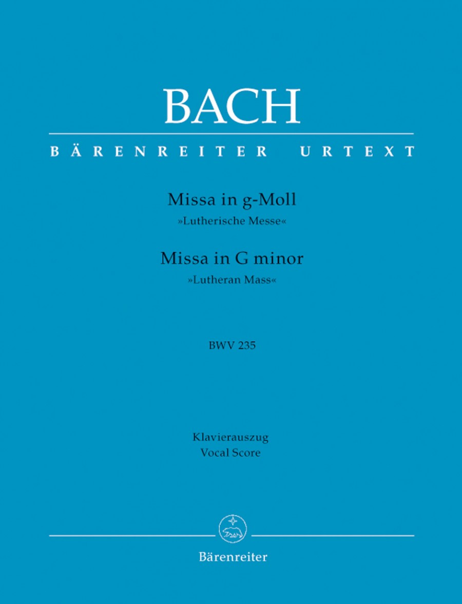 Bach: Lutheran Mass in G minor (BWV 235) published by Barenreiter Urtext - Vocal Score