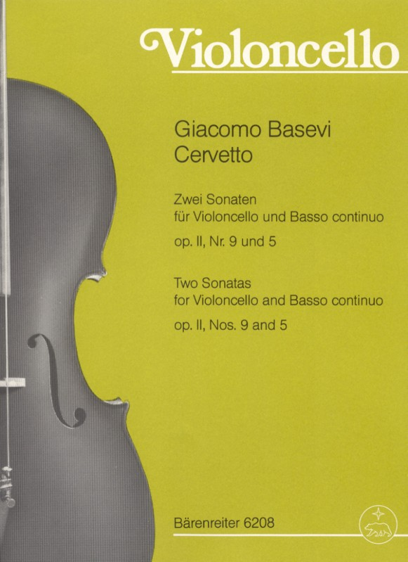 Cervetto: Two Sonatas Opus 2 No.s 9 & 5 for Cello published by Barenreiter