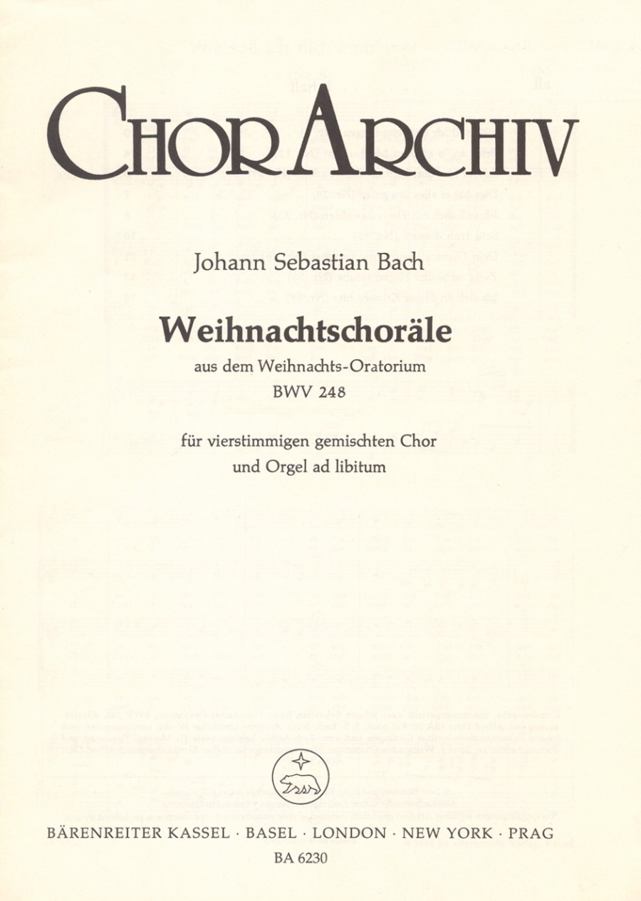 Bach: Christmas Chorales from the Christmas Oratorio (BWV 248) published by Barenreiter - Vocal Score