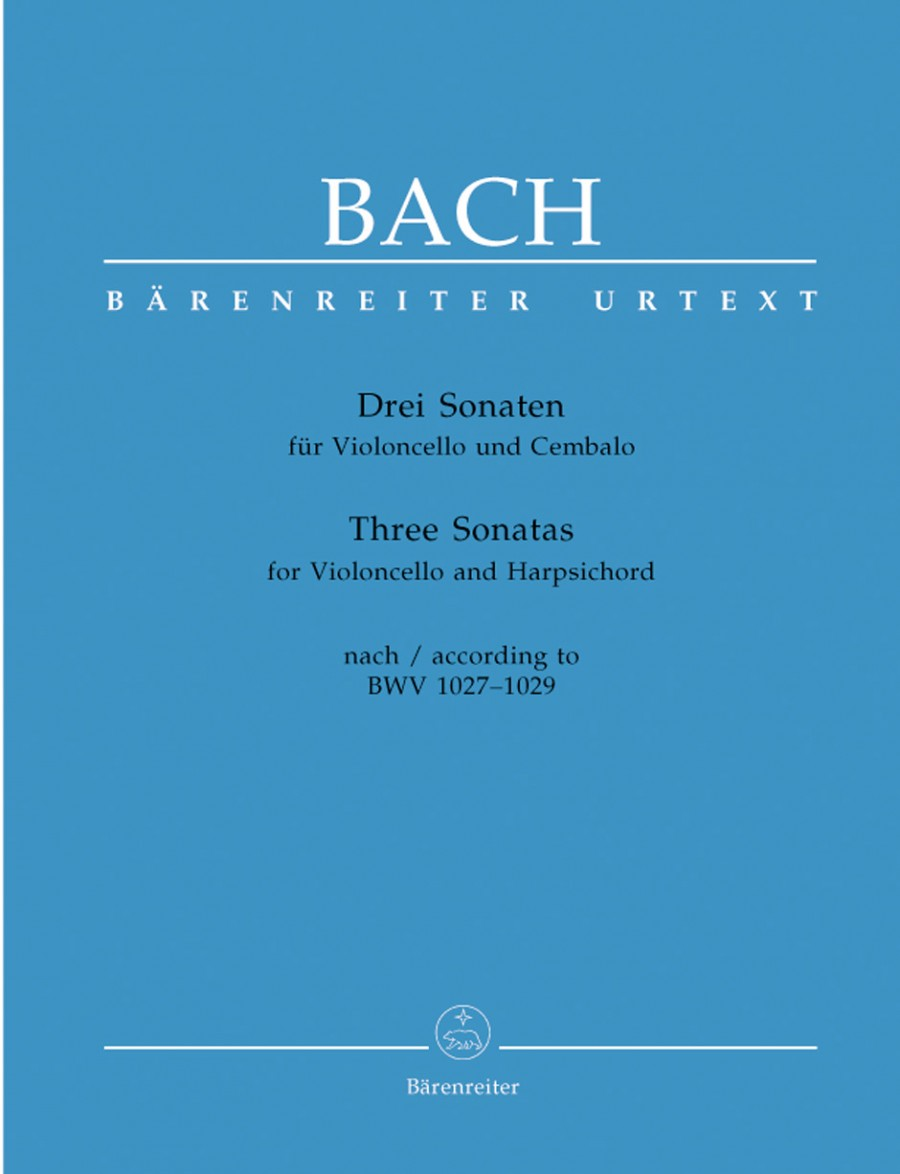 Bach: 3 Sonatas BWV 1027 - 1029 for Cello published by Barenreiter