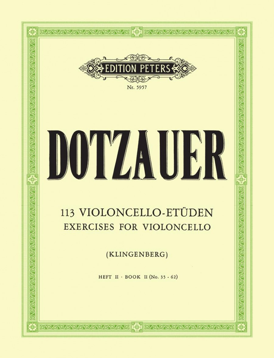 Dotzauer: 113 Exercises Book 2 for Cello published by Peters Edition