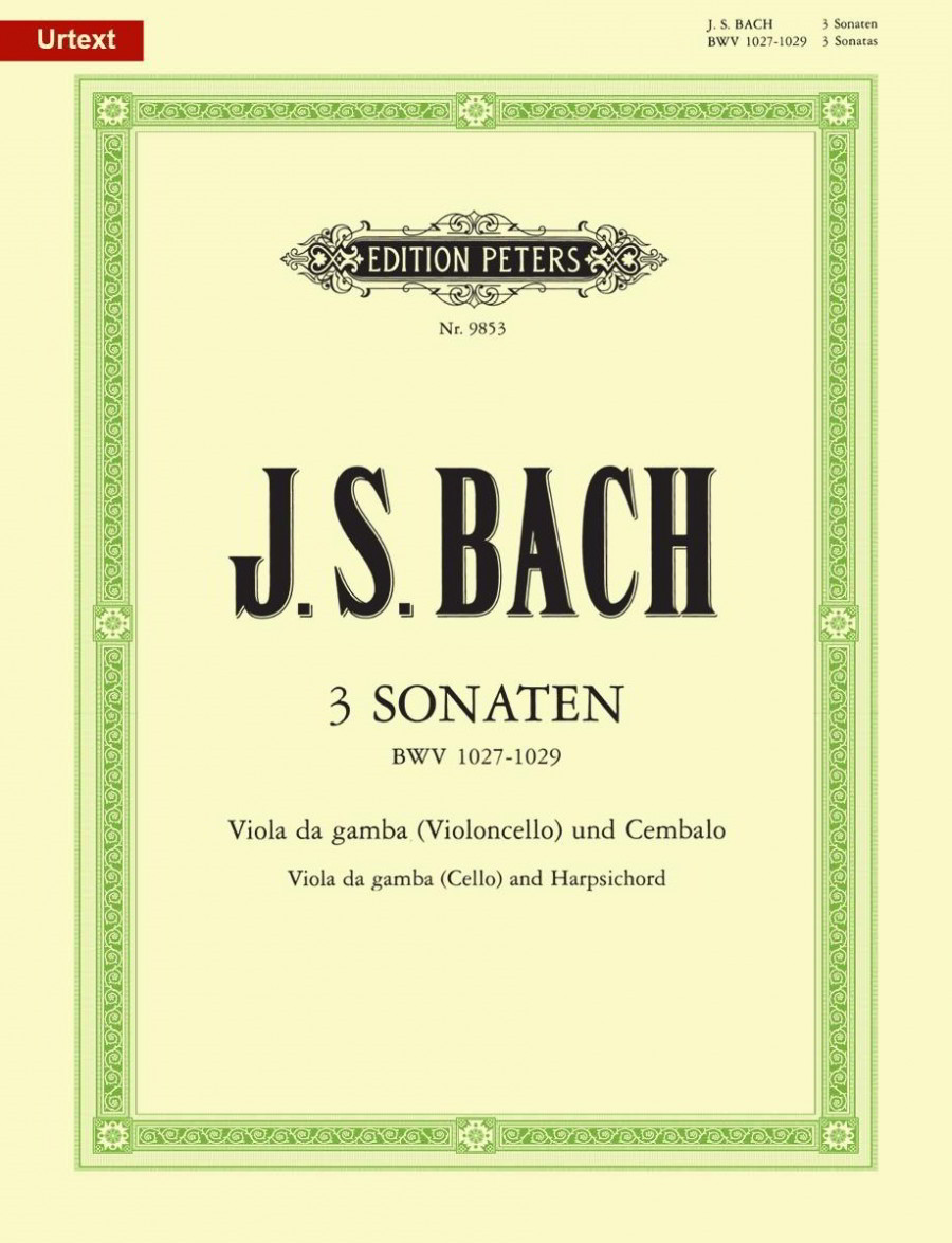 Bach: Viola Da Gamba Sonatas BWV 1027 - 1029 for Cello published by Peters
