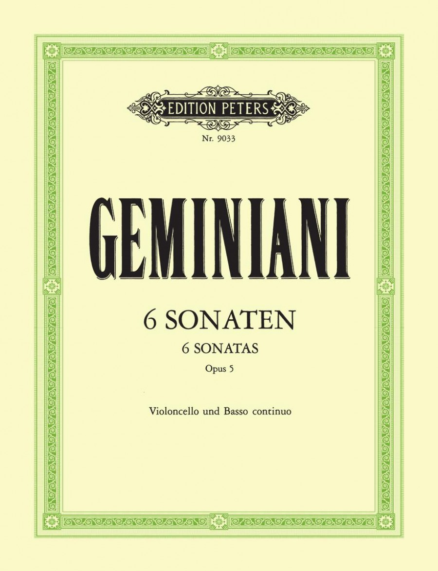 Geminiani: 6 Sonatas Opus 5 for Cello published by Peters