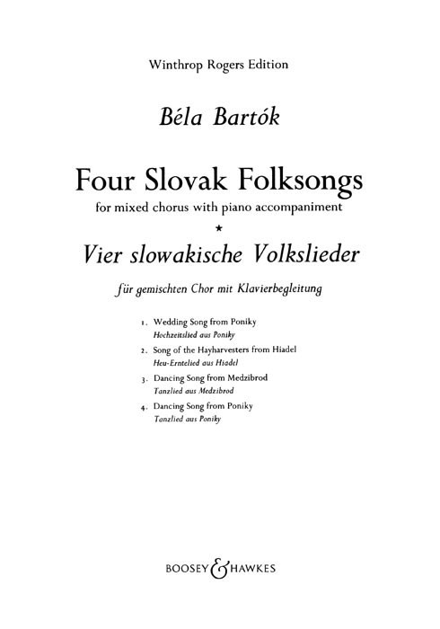 Bartok: 4 Slovak Folksongs SATB & Piano published by Boosey & Hawkes