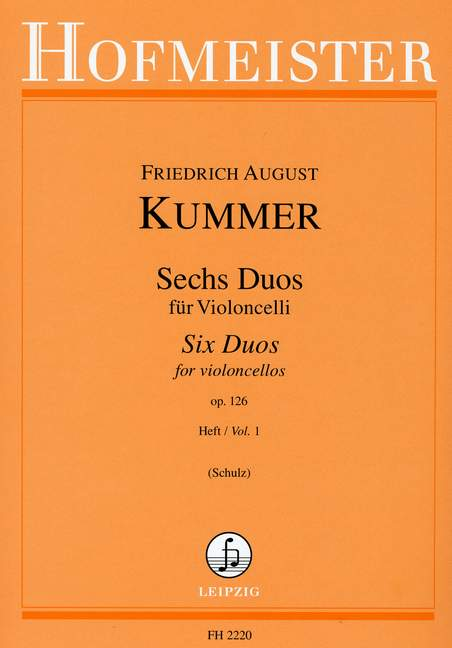 Kummer: Six Duos for Two Cellos Opus 126 Volume 1 published by Hofmeister