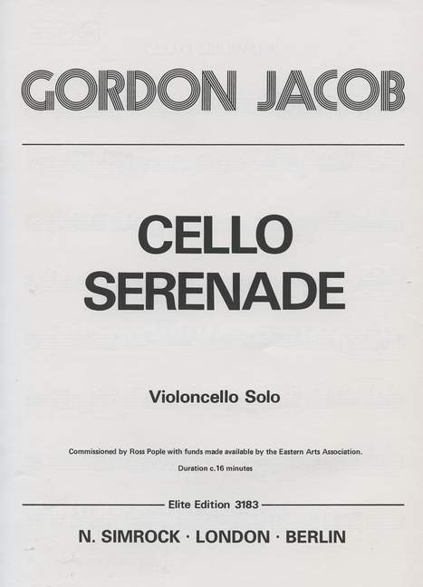 Jacob: Serenade for Cello published by Simrock