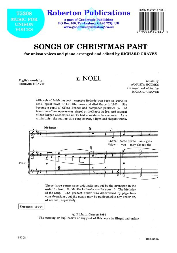 Graves: Songs Of Christmas Past (Unison) published by Roberton