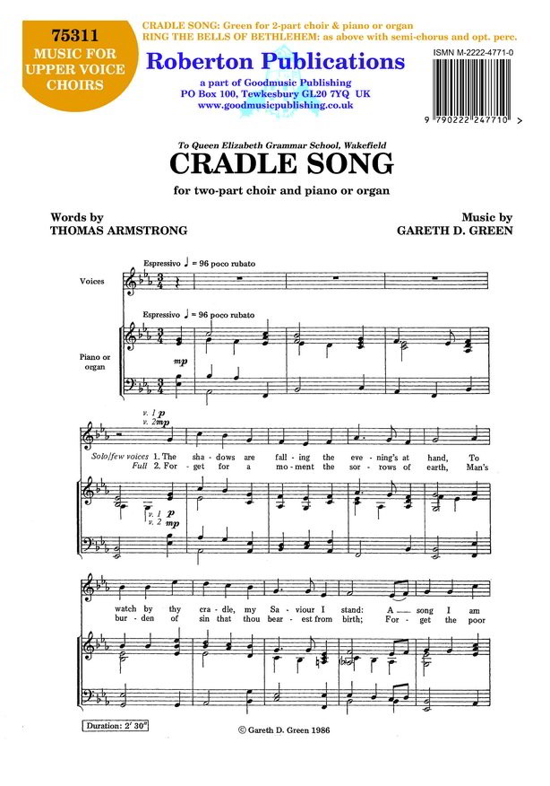 Green: Cradle Song & Ring The Bells of Bethlehem 2pt published by Roberton
