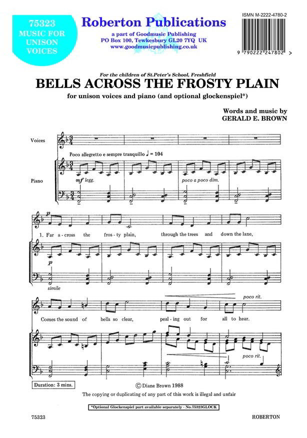 Brown: Bells Across The Frosty Plain (Unison) published by Roberton