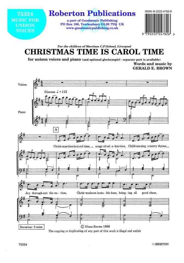 Brown: Christmas Time Is Carol Time (Unison) published by Roberton
