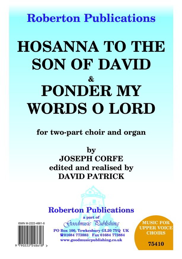 Corfe: Hosanna To The Son & Ponder My Words O Lord 2pt published by Roberton