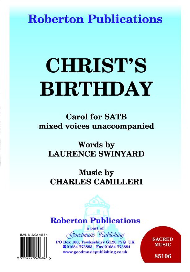 Camilleri: Christ's Birthday SATB published by Roberton