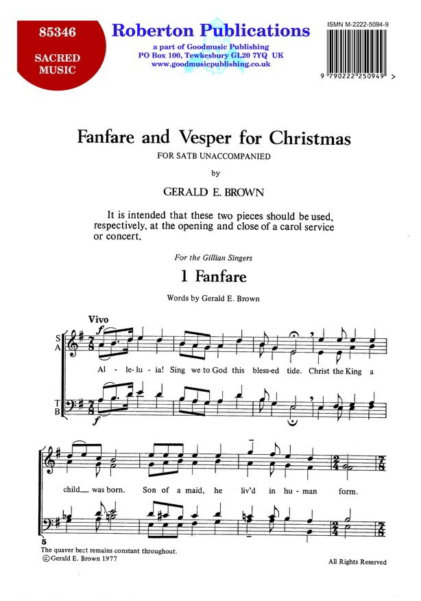 Brown: Fanfare And Vesper For Christmas SATB published by Roberton