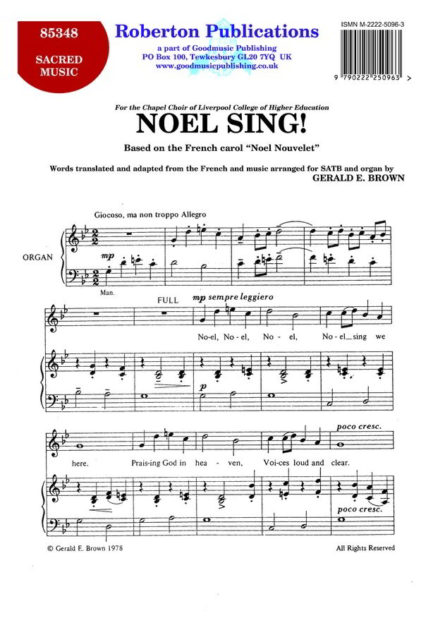 Brown: Noel Sing SATB published by Roberton