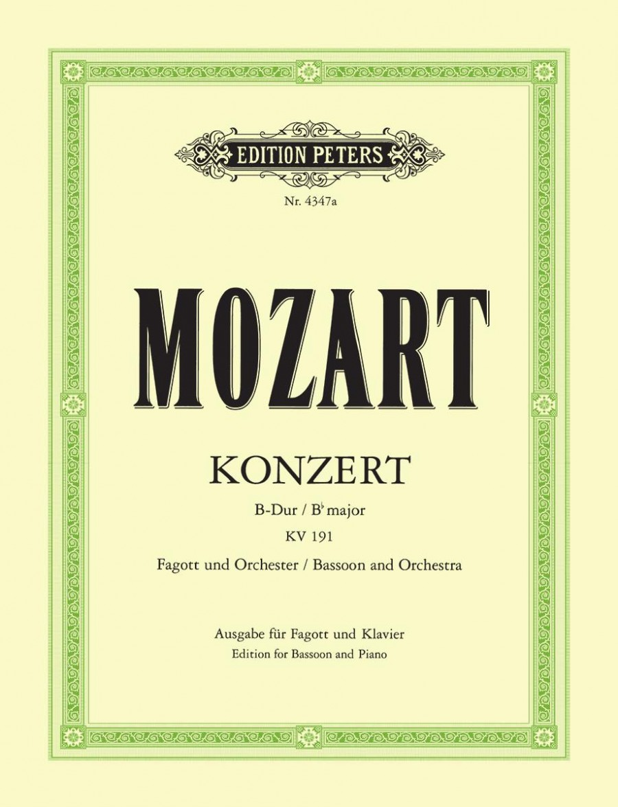 Mozart: Concerto No 1 in Bb KV191 for Bassoon published by Peters