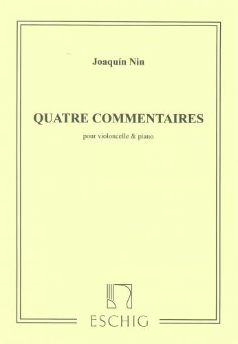 Nin: Quatre Commentaires for Cello published by Eschig