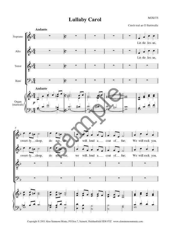 Battiwalla: Lullaby Carol SATB published by Simmons