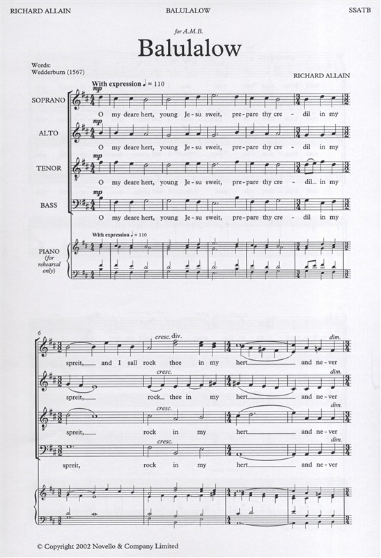 Allain: Balulalow SATB published by Novello