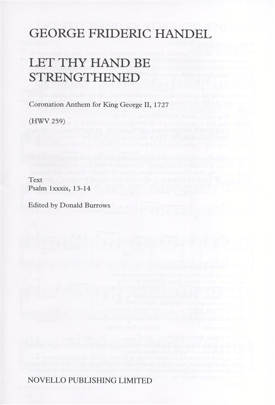 Handel: Let Thy Hand Be Strengthened SAATB published by Novello