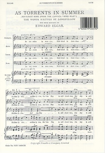 Elgar: As Torrents In Summer SATB published by Novello