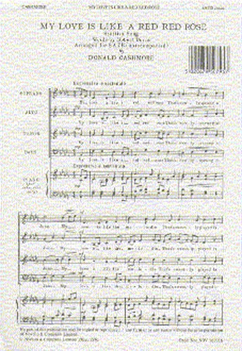 Cashmore: My Love Is Like A Red Red Rose SATB published by Novello