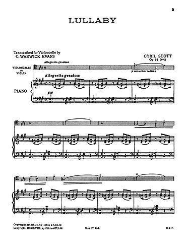 Scott: Lullaby Opus 57 No 2 for Cello published by Novello