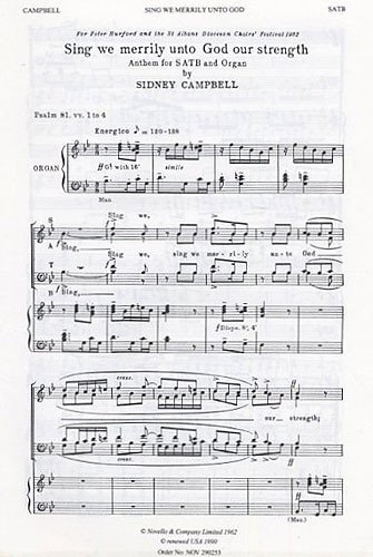 Campbell: Sing We Merrily Unto God SATB published by Novello