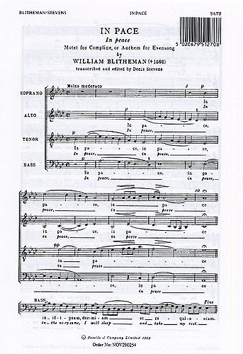 Blitheman: In Pace SATB published by Novello