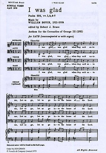 Hubert Parry I Was Glad When They Said Unto Me SATB Organ Accompaniment She C