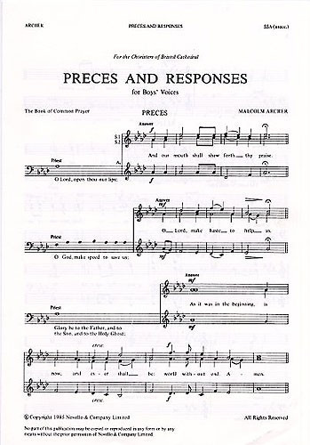 Archer: Preces And Responses (Boys Voices) published by Novello